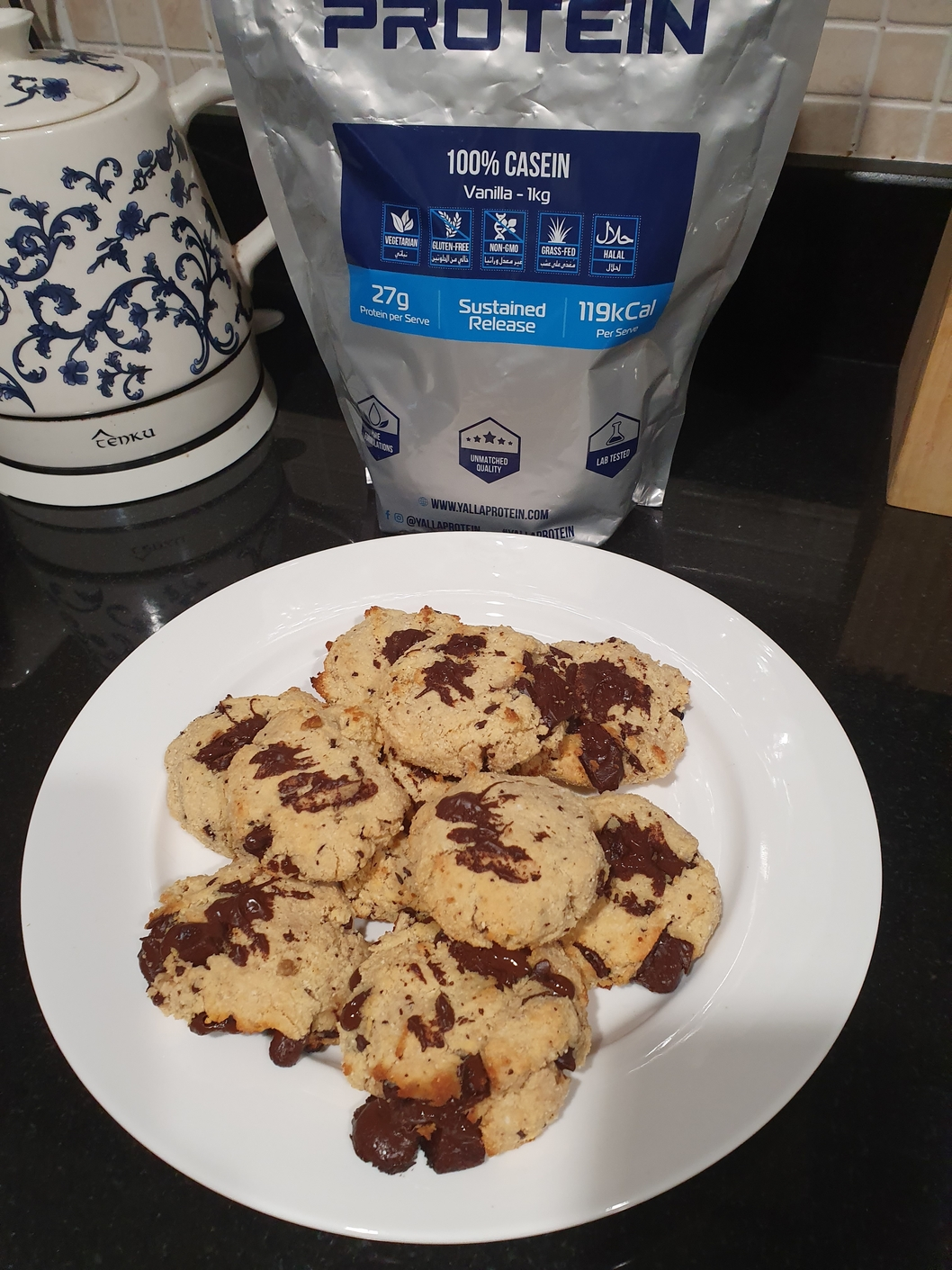 Low Carb Choc Chip Protein Cookies